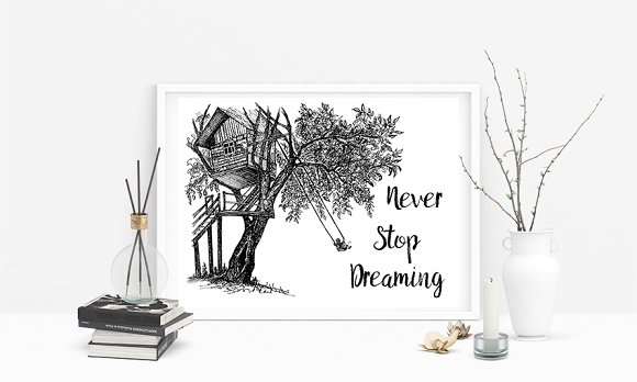 Never Stop Dreaming Quote. Ink House - Illustrations