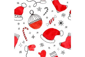 Seamless pattern, Christmas doodle