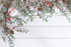 Christmas border design with snow