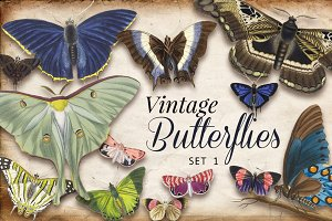 Vintage Butterflies Set 1