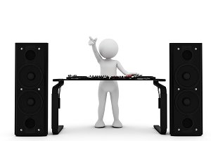 Toon man DJ spinning music on mixer. White background