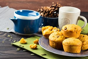Pumpkin and apple muffins with raisins and pepitas