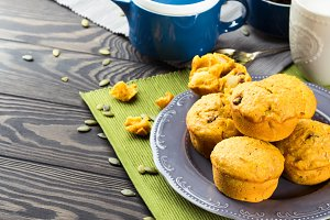Pumpkin and apple muffins for autumn breakfast