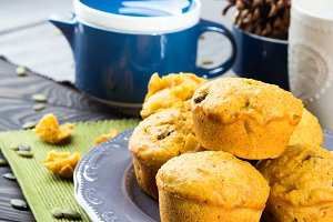 Pumpkin sweet muffins for fall breakfast