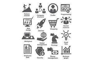 Business management icons. Pack 29.