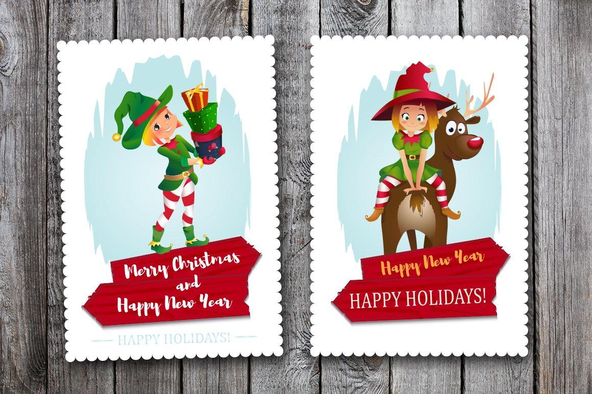 Merry Christmas Cards Elf Helper Card Templates Creative Market