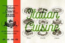 Italian cuisine illustrations