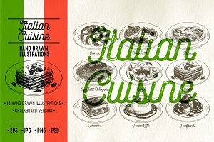 Italian cuisine illustrations