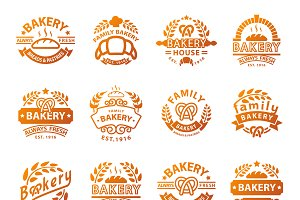 Bakery badgesand logo vector