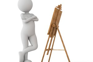 Toon man painter looking at the image on the easel.