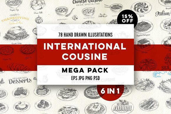 Mega pack. International cuisine - Illustrations