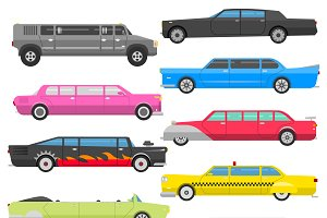 Detailed vector luxury limousine set
