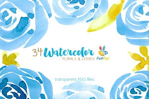 Watercolor Florals & Leaves