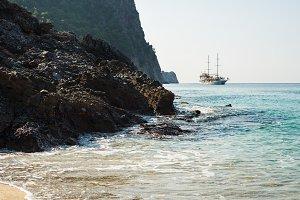 Ship sailing on Mediterranean sea