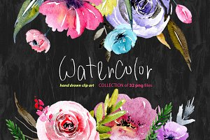 Watercolour floral png elements