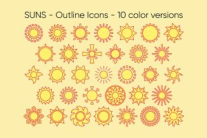 SUNS outline icons: 10 versions