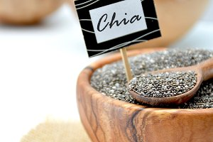 Wooden Bowl full of seeds of chia