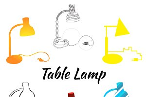 Vector table lamp set