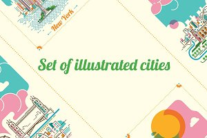 Set of illustrated cities