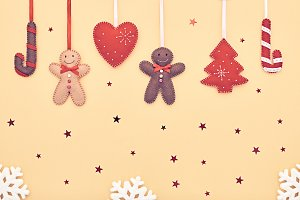 Christmas background decoration. Design Handmade