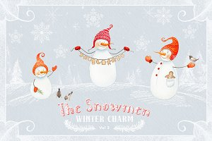The Snowmen- winter watercolors