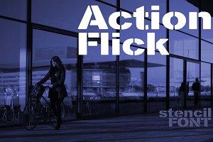 Action Flick stencil font