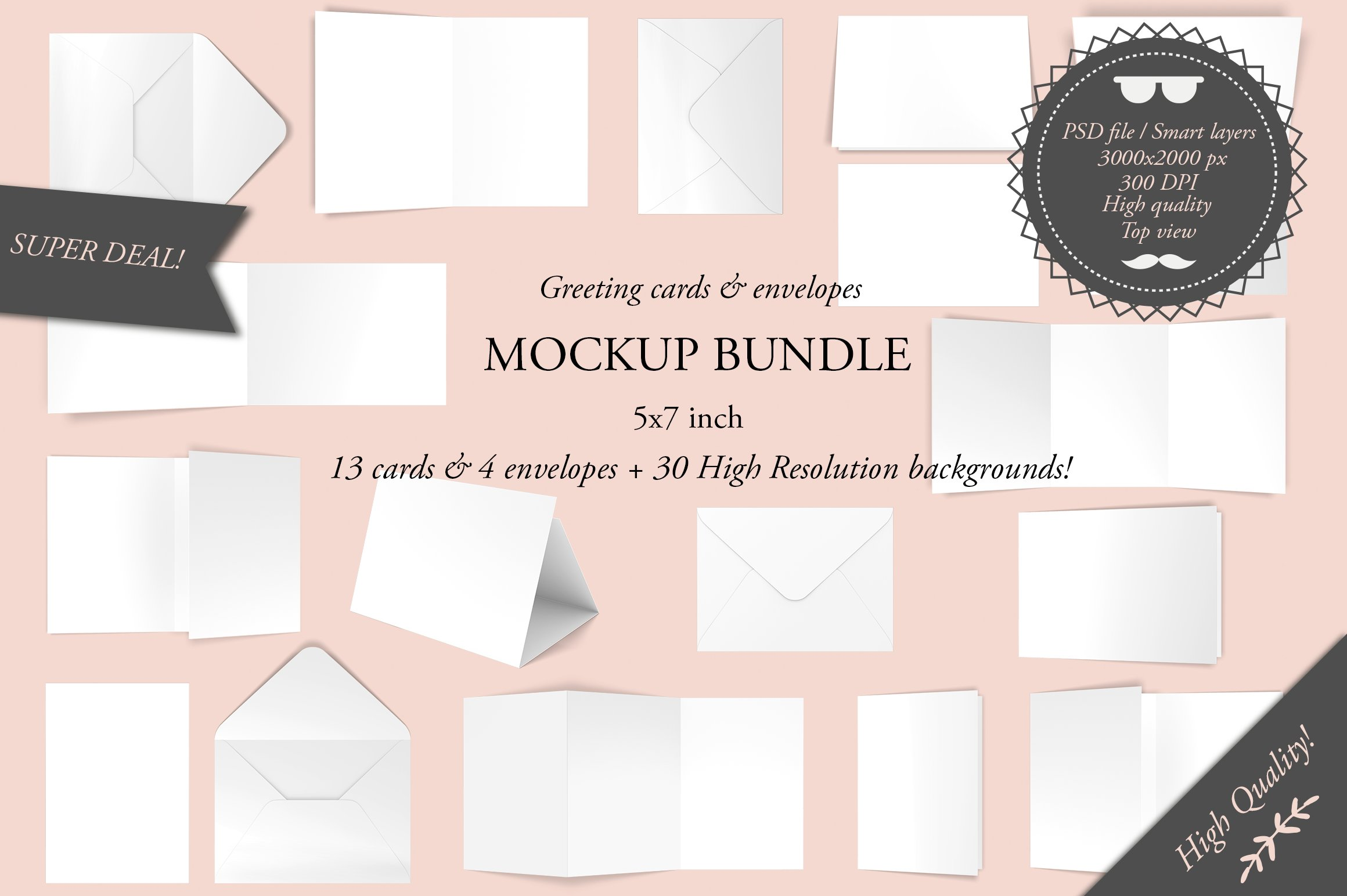 Greeting cards 5x7 mockup bundle product mockups creative market kristyandbryce Gallery