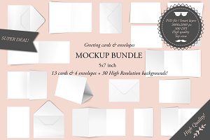Greeting cards 5x7 - Mockup bundle