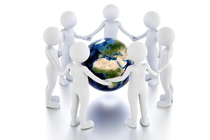 Save the earth concept. Toon men protect the globe in a circle.