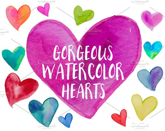 34 Watercolor Heart .PNG Files - Objects