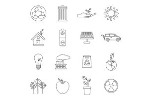 Ecology icons set, outline style