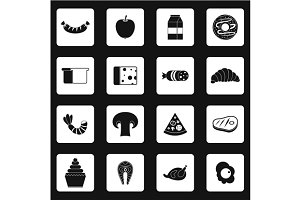 Food icons set, simple style