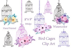 Watercolor floral bird cage clipart