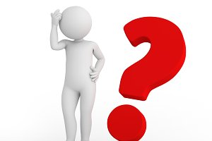 Red big question mark and toon man thinking. FAQ, ask, search concepts