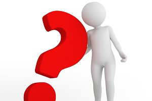 Red big question mark and toon man. FAQ, ask, search concepts