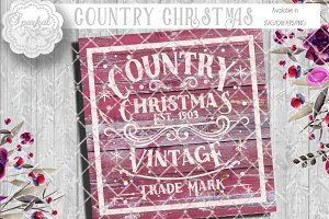 Vintage Country Christmas Cut File