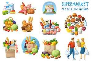 Supermarket food vector illustration