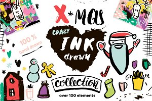 Crazy Ink drawn Christmas Kit