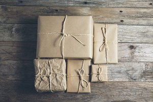 Neutral gift wrap for the holidays