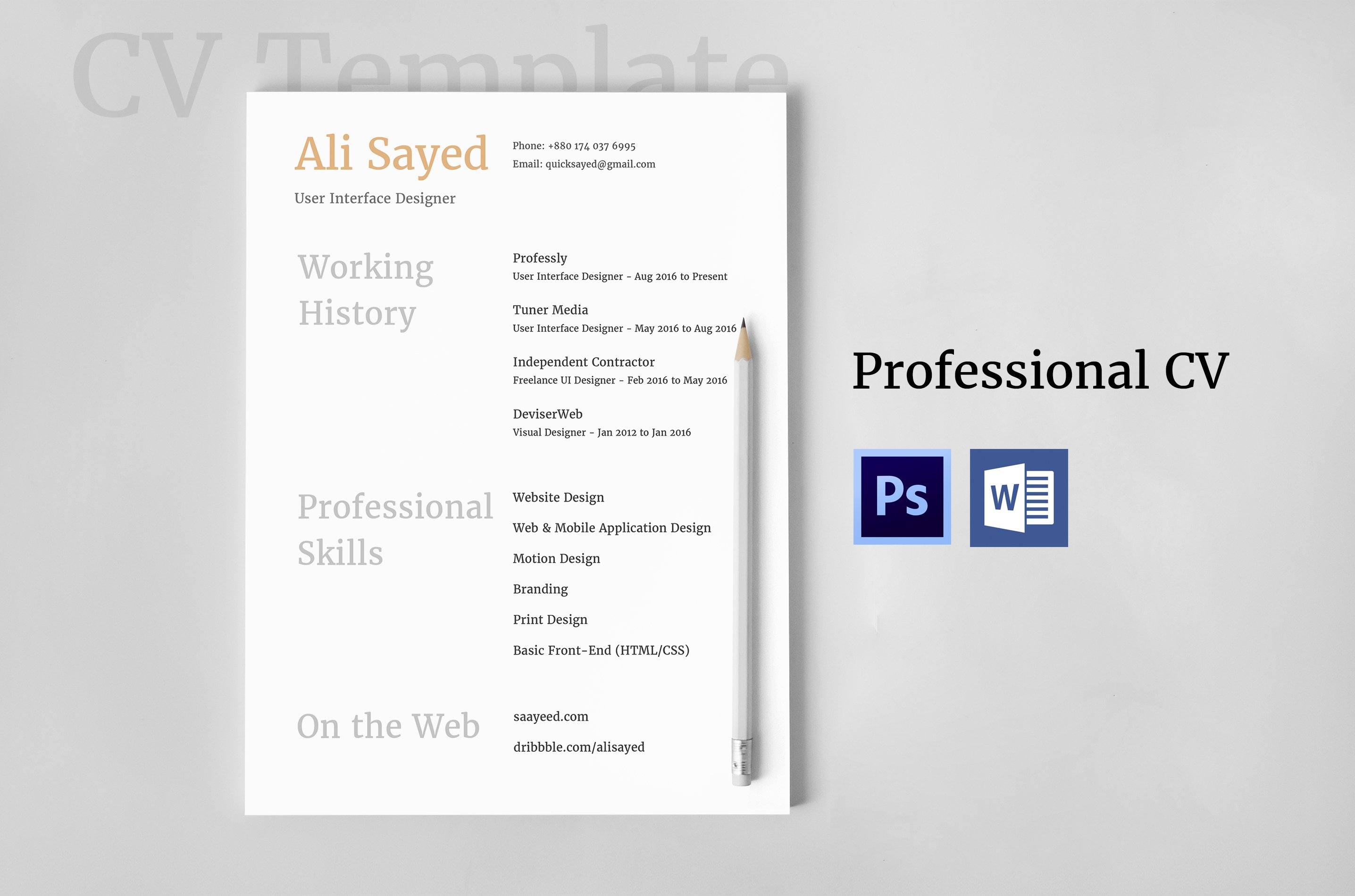 Modern CV For Web & IT Professionals ~ Stationery Templates ...