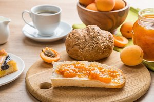 Breakfast:coffee, pastries, apricots