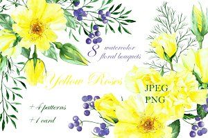 watercolor yellow roses bouquets