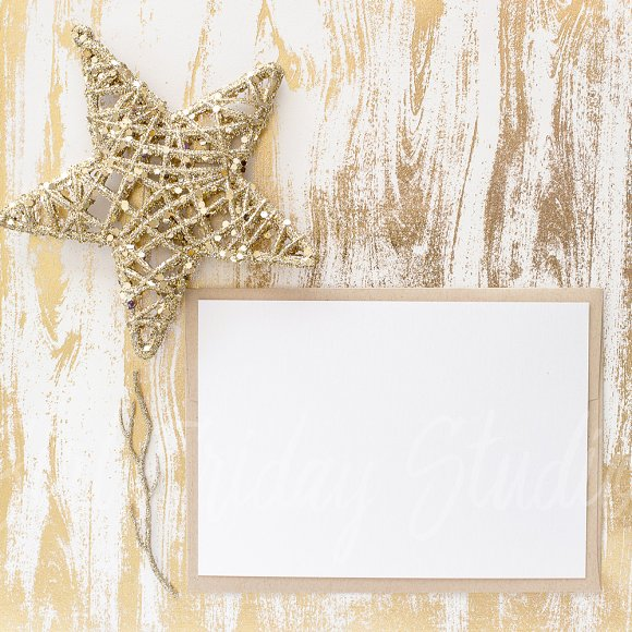 Holiday Golden Wood Texture Mockup