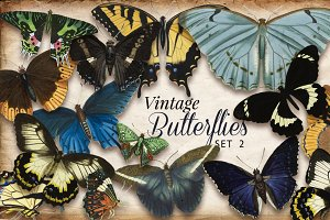 Vintage Butterflies Set 2