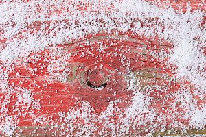 Snow and Red rustic wood