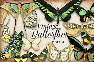 Vintage Butterflies Set 4