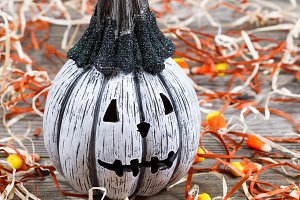 closeup of scary pumpkin
