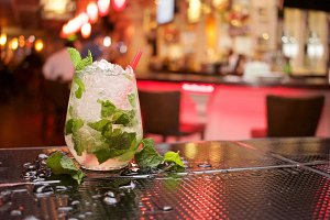 Mojito cocktail in a bar