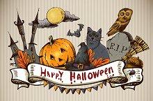 Set of Hand-drawn Halloween
