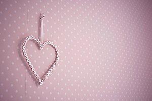Pink Button Heart Decor